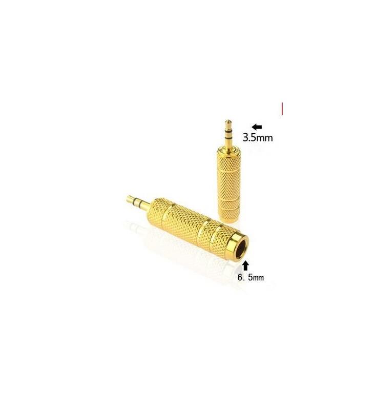 Gold 6.5mm to 3.5mm F/M Microphone Headphone Audio Jack Adapter Convertor Plug