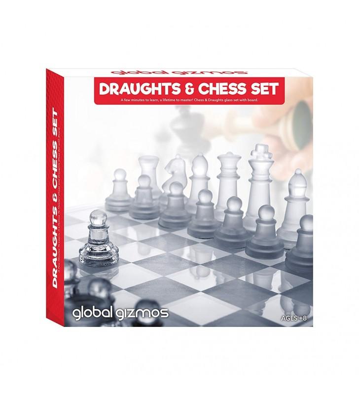 Global Gizmos Glass Draughts and Chess Game Set