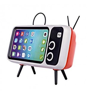 Retro TV Phone Holder with Bluetooth Speaker