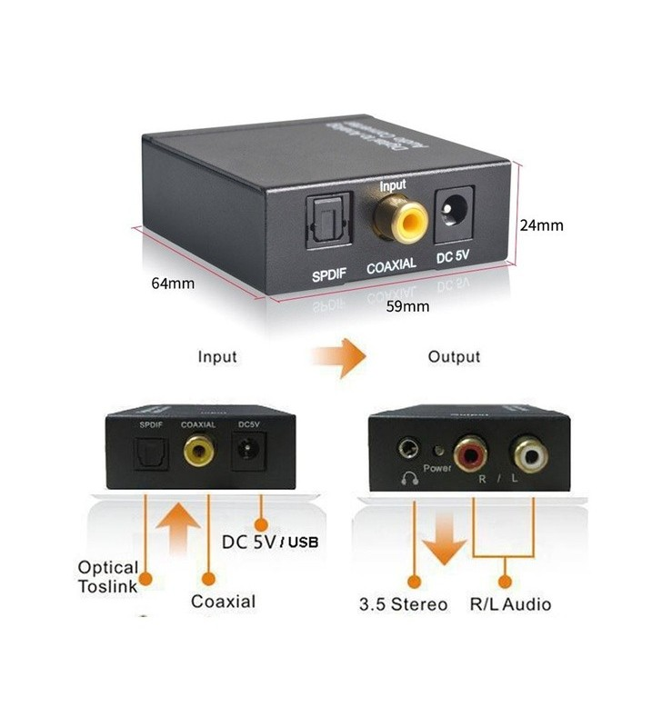 Digital To Analog Fiber Coaxial Audio Converter