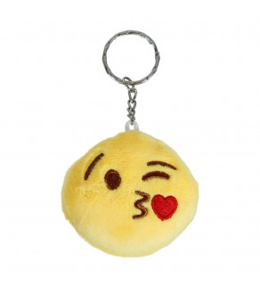Kissing Smiley Face Emoji Furry Yellow Keyring