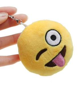 Tongue Out Smiley Face Emoji Furry Yellow Keyring