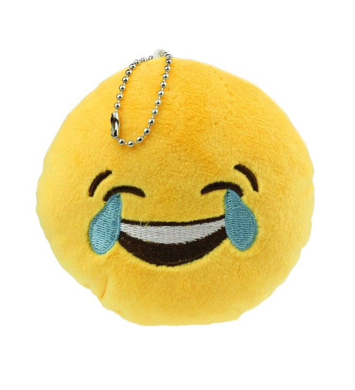 Crying with Laughter Face Emoji Furry Yellow Keyring