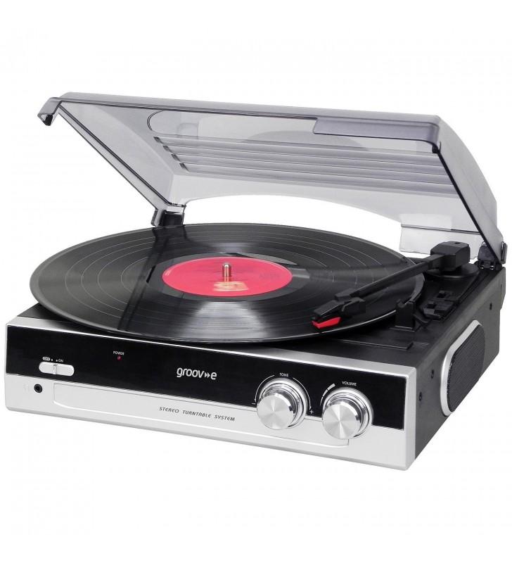 Groov-e GVTT01BK Vintage Vinyl Record Player with Built-in Speakers - Black
