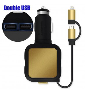 Car charger with-2-in-1- stretch cable 4.8A