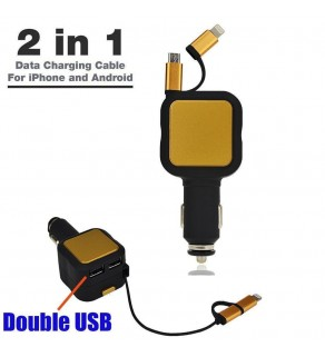 2 in 1 Car Charger For Apple/Samsung